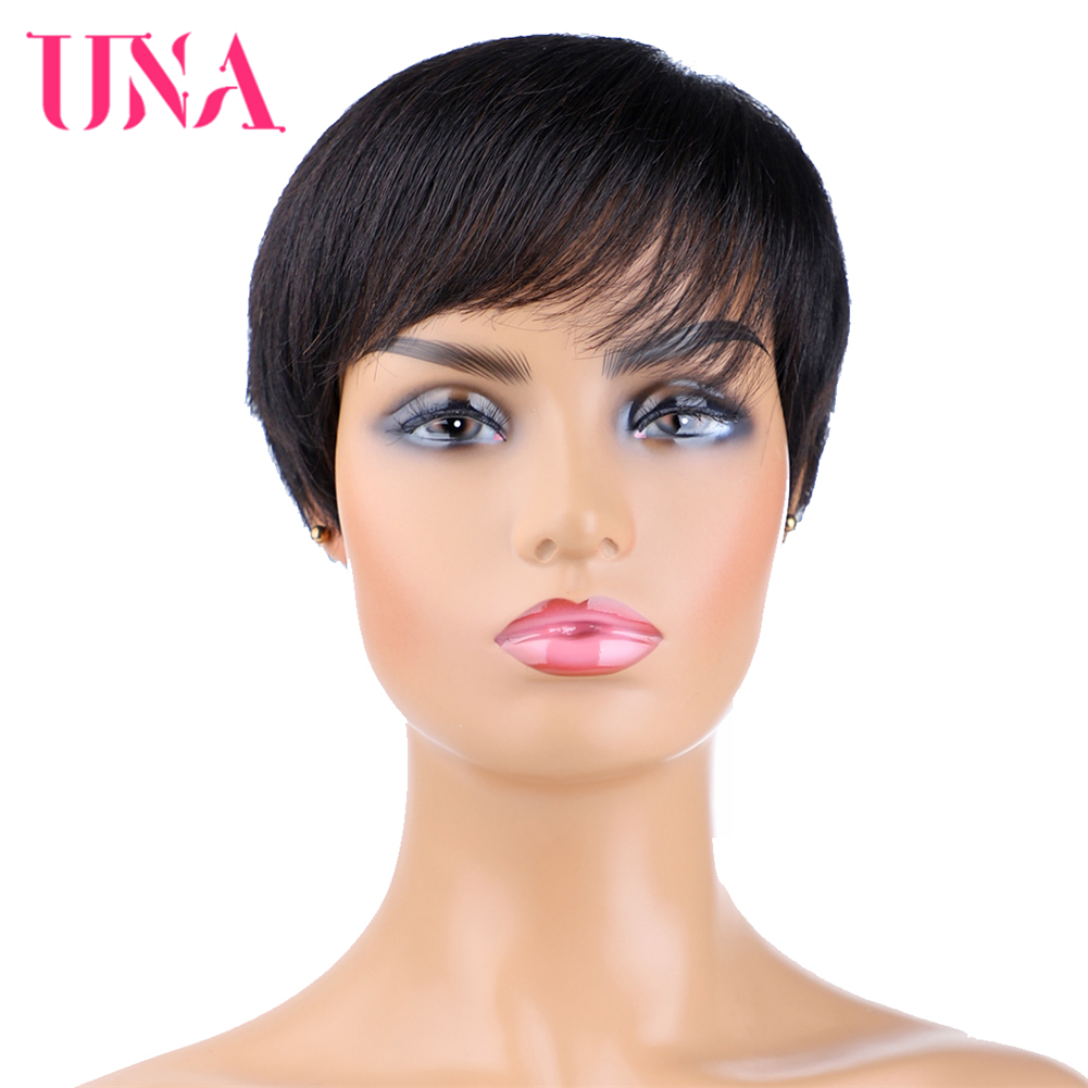 UNA Short Human Hair Wigs For Women Remy Straight Human Hair Brazilian Human Hair Wigs Machine Hair Wigs