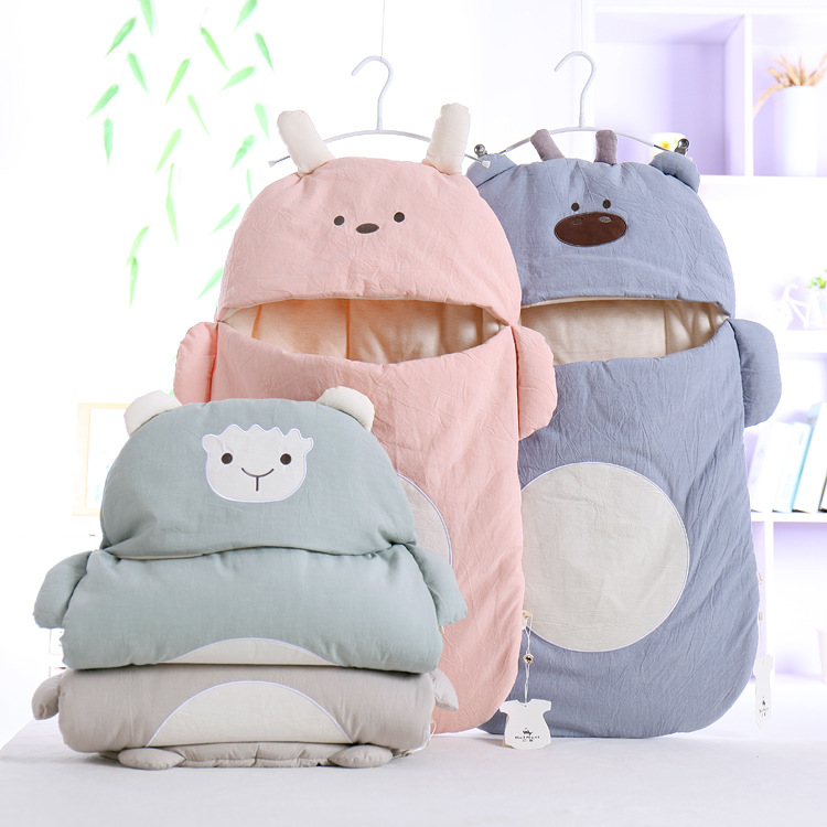 Newborn Cotton Baby Padded Soft Combed Cotton Sleeping Bag Cartoon Infant Swaddle Baby Cuddle Sleeping Bag Infant  Baby Quilt Envelope Style Swaddle