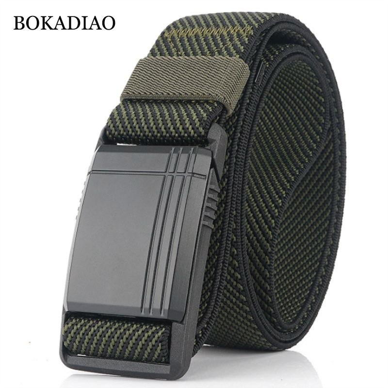 BOKADIAO Army Combat Outdoor Training Men Belts Allergy Prevention Plastic Buckle Stretch Elastic Nylon Tactical Belt Male Strap