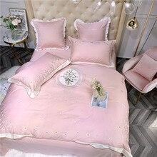 Edredón Vintage bordado Floral Set 4/6 Uds. Niñas rosa amarillo reina tamaño King algodón egipcio suave juego de cama sábana