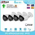 Dahua 4MP IP Camera IPC-HFW2431S-S-S2 H265+POE Onvif SD Card IVS IP67 CCTV Outdoor Starlight Mini Bullet Video Camera 4pcs kit