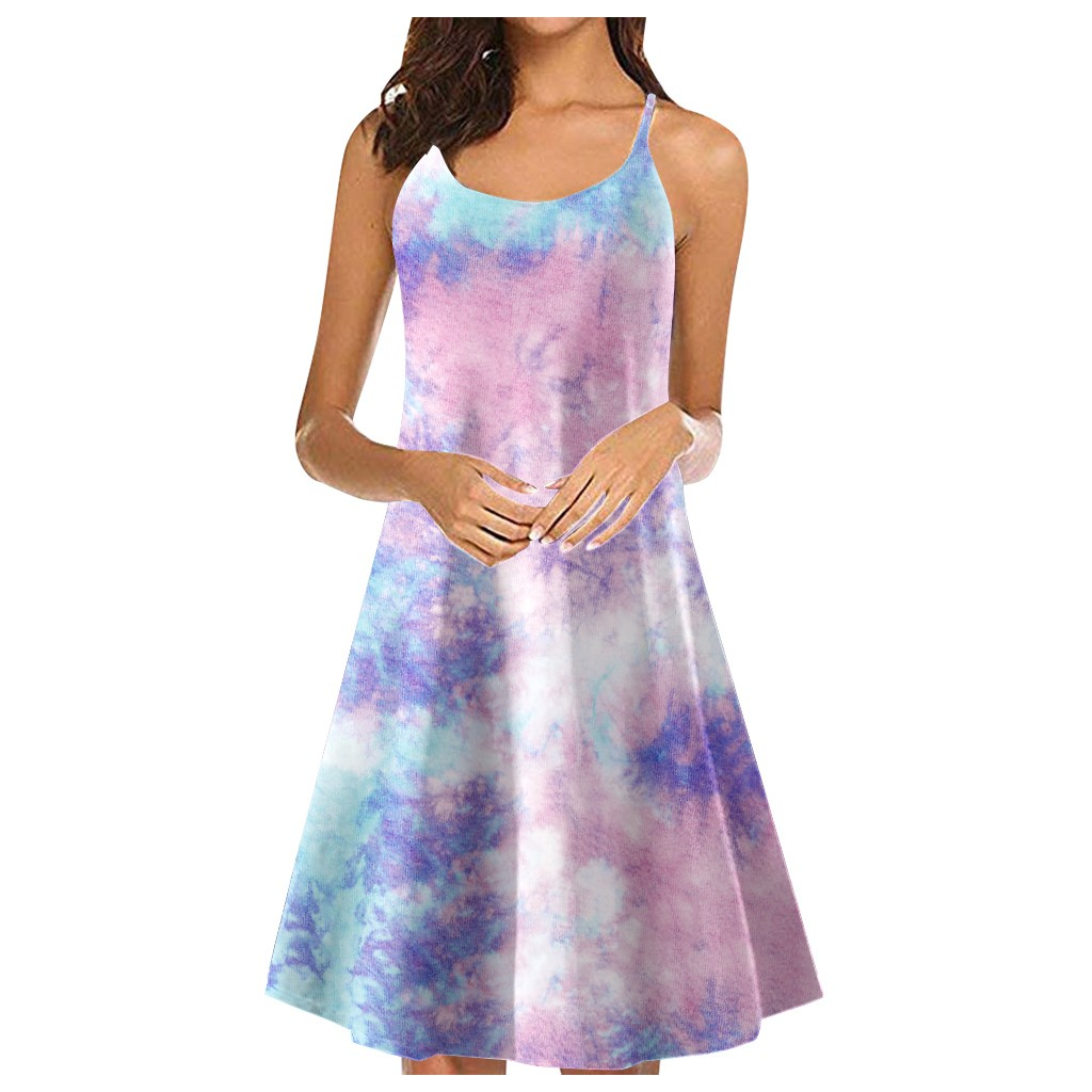 vestido de mujer Women's Tie-Dye Gradient Sleeveless Adjustable Strappy Summer Beach Swing Dress femme robe платье 2021