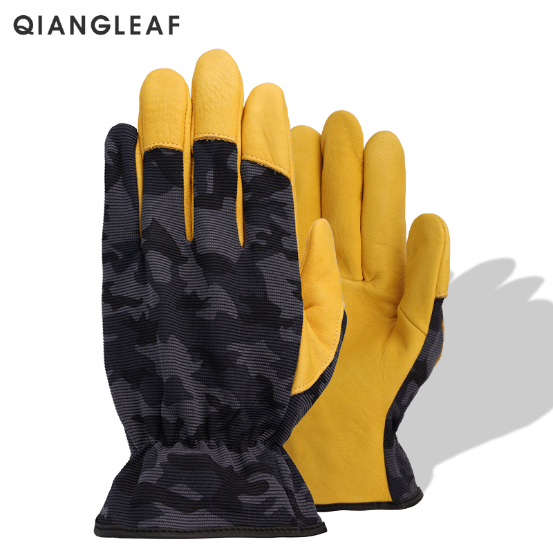 Qiangleaf Brand Work Gloves Protective Top Layer Cowhide Camouflage Cloth Tactics Safety Glove Wear Resistant Non-slip 9530mc