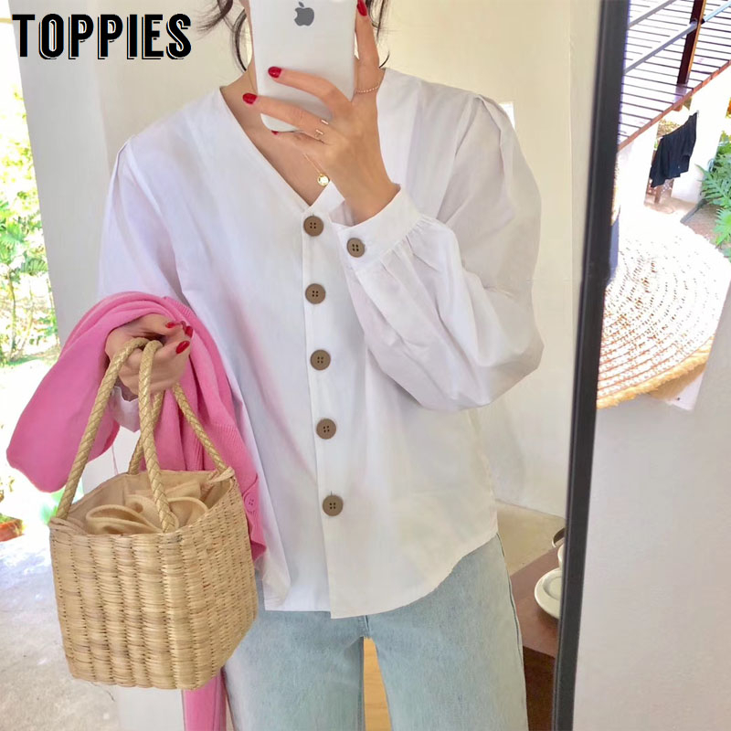2020 Spring Summer White Blouses Tops Women V-neck Gothic Shirts Korean Fashion Vacation Tops Solid Color