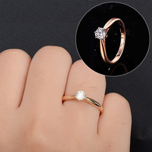 Classic Wedding Rings For Women Forever Simple Style Six Claws Cubic Zirconia 3 Color