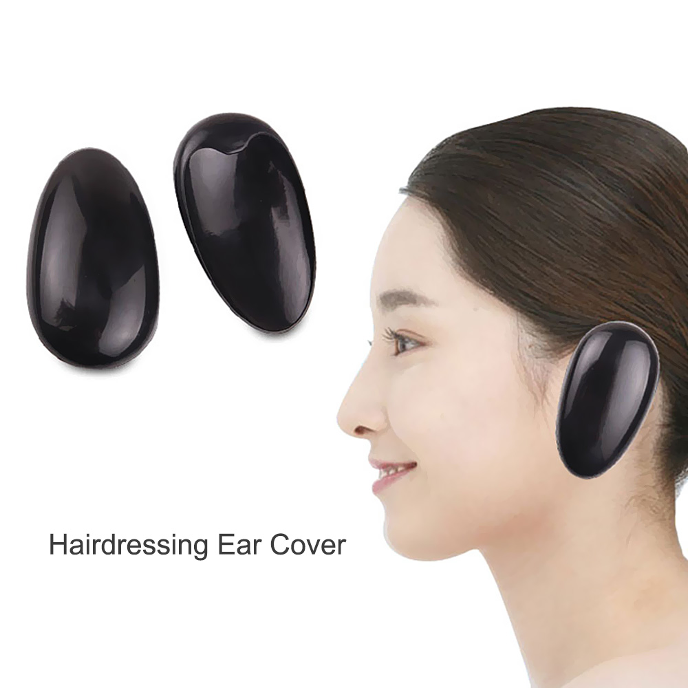 1 Pair Ear Cover Hairdressing Hair Dye Ear Protector For Hair Dryers Black  Plastic 7*4cm