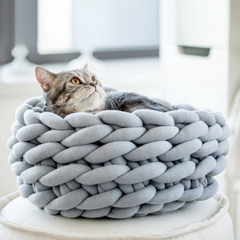 Cat Bed Pet Cat Round Basket Bed Nest Cotton House Woven Pet Sleeping Bed  Rest Nesting Cute Fun Scratch-resistant Mat PadCC