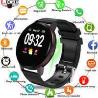 LIGE 2019 nuevo reloj inteligente negro informal de moda para hombre, reloj inteligente de marca superior, reloj podómetro impermeable de lujo, pulsera inteligente