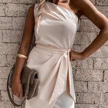 Midi dress for women concise Casual Party Dress woman tunics Asymmetrical sleeveless bodycon dress Irregular Drape Dress Mujer