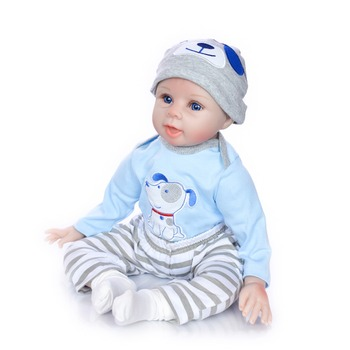 Soft Silicone doll reborn 55cm blue eyes Realistic Playmate babies boy doll for children toys best Christmas gift Stuffed doll
