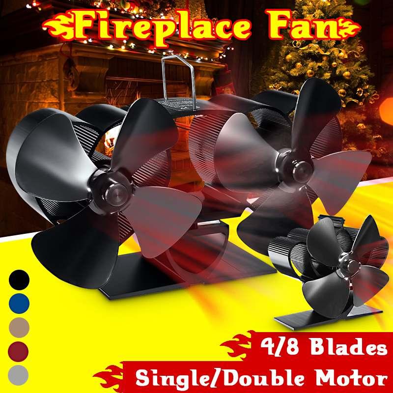 Stove Fan 4/8 Blade Dual Head Fireplace Fan Heat Powered Komin Wood Burner Eco Fan Home Efficient Heat Distribution