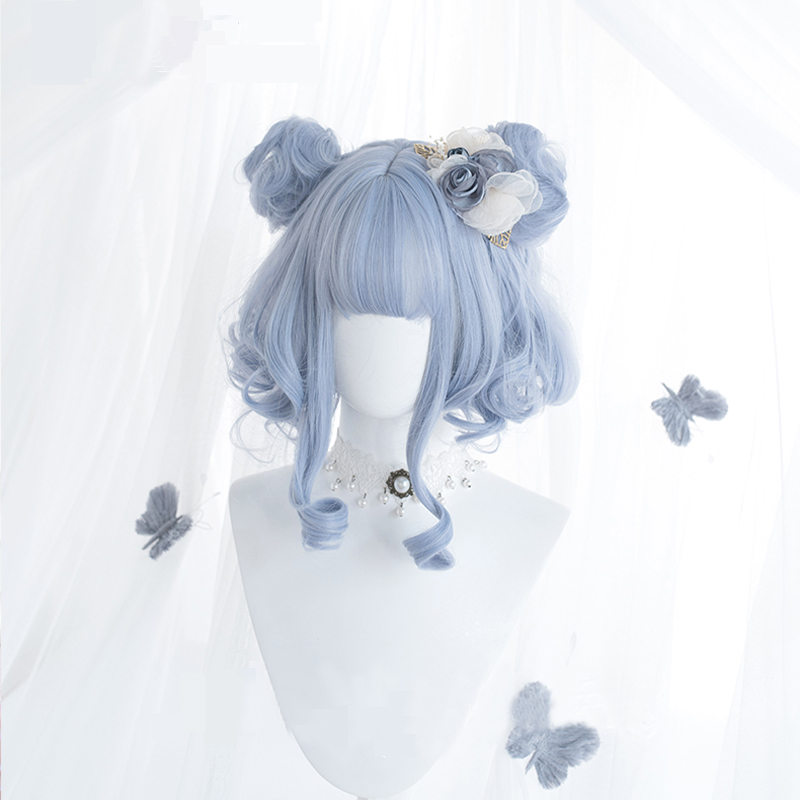 Daily Lovely Girl Lolita Cosplay Wigs High-temperature Fiber Synthetic Hair Sky Blue Short Curly Hair+free Hair Cap
