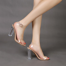 JF With Single Shoes Ladies transparent heel thick sandals woman with heels and large size womens Shoe