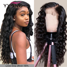 YYong 150% Peruvian 5x5 Lace Closure Human Hair Wigs Loose Deep Wave 4x4 Remy Pre-plucked