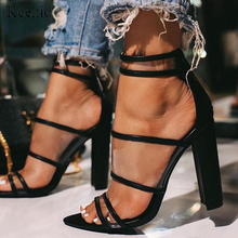 Прозрачные Сандалии гладиаторы Kcenid из ПВХ с ремешком на щиколотке 10 см, летние женские туфли лодочки для вечерние, 2020