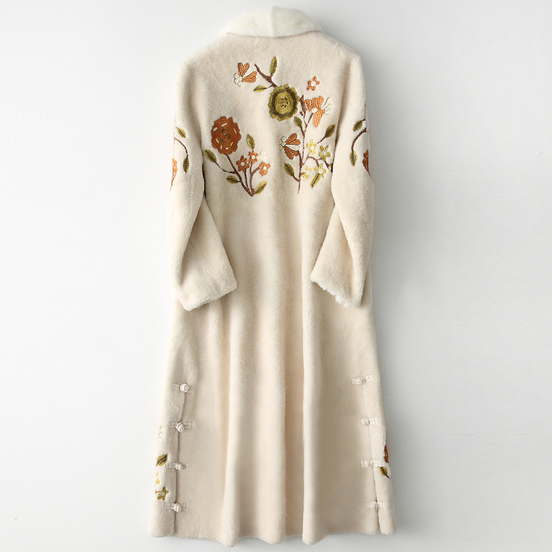 Real Shearling Sheep Fur Coat Winter Jacket Women Mink Fur Collar Wool Coats Print Korean Long Jackets Manteau Femme MY S S