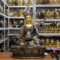 46CM huge large # Wholesale Buddha statues HOME Temple Silver plating India Tibet Padmasambhava Guru Rinpoche buddha brass art