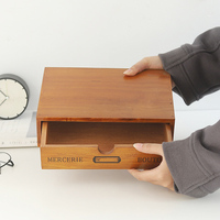 Storage Organizer Wood Box Japanese Retro Wooden Box Drawer Receipt Box Receipt Desktop Finishing Box Wooden Drawer Cabinet