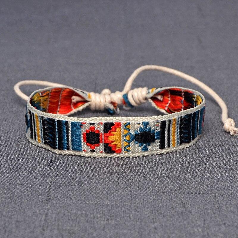 Женский этнический браслет из хлопка и льна, плетеный браслет ручной работы в стиле ретро с вышивкой Хиппи