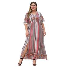 WHZHM Party Plus Size 3XL 4XL Tassel Short Flare Sleeve Dress Women Loose Sexy Ladies Elegant High Waist Split Dresses Female