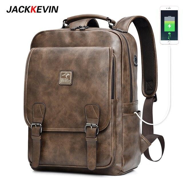 Jackkevin Men's Retro Leather Backpack Multi-function Large Capacity Men bag Travel Backpack Waterproof Laptop Backpack Mochila