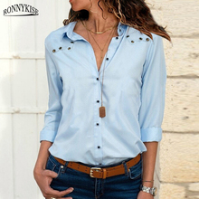 RONNYKISE Chiffon Shirt Womens Fashion Solid Color V-neck Button Hole Long-sleeved Blouses and Tops Summer Ladies Sexy