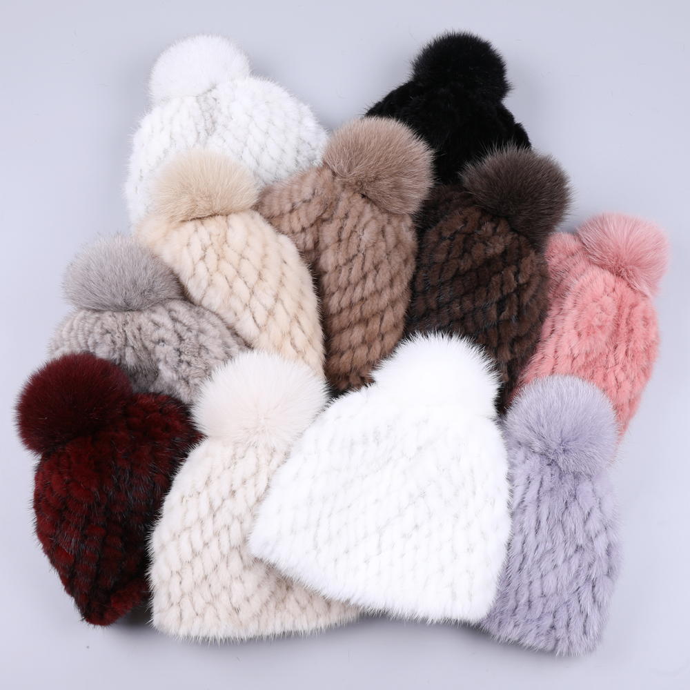 100% Real Mink Fur Hat Women Winter Knitted Beanies Russian Girls Cap With Fox Fur Pom Poms Thick Female Cap Elastic