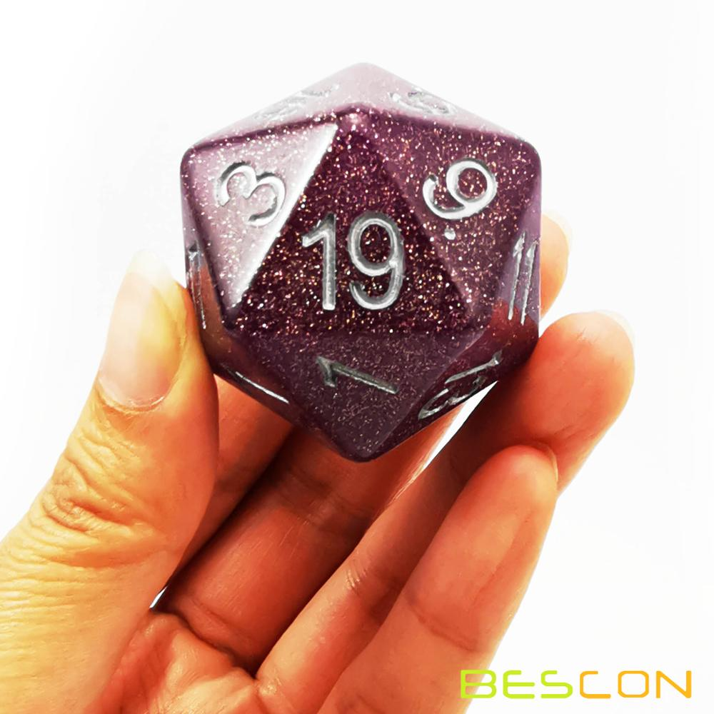 Bescon Jumbo Glowing D20 38MM, Big Size 20 Sides Dice 1.5 inch, Big 20 Faces Cube in Various Solid, Glitter, Glowing Colors 16