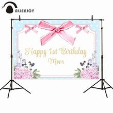 Allenjoy Watercolor Photocall Flower Leaves Bead Bow Dot Happy 1st Birthday Moon Backdrop Cloth Baby Girl Shower Party Banners(China)