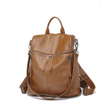 Genuine leather women School backpack for student genuine leather water proof bag pack women bag weaving pattern hot sale C1140(China)