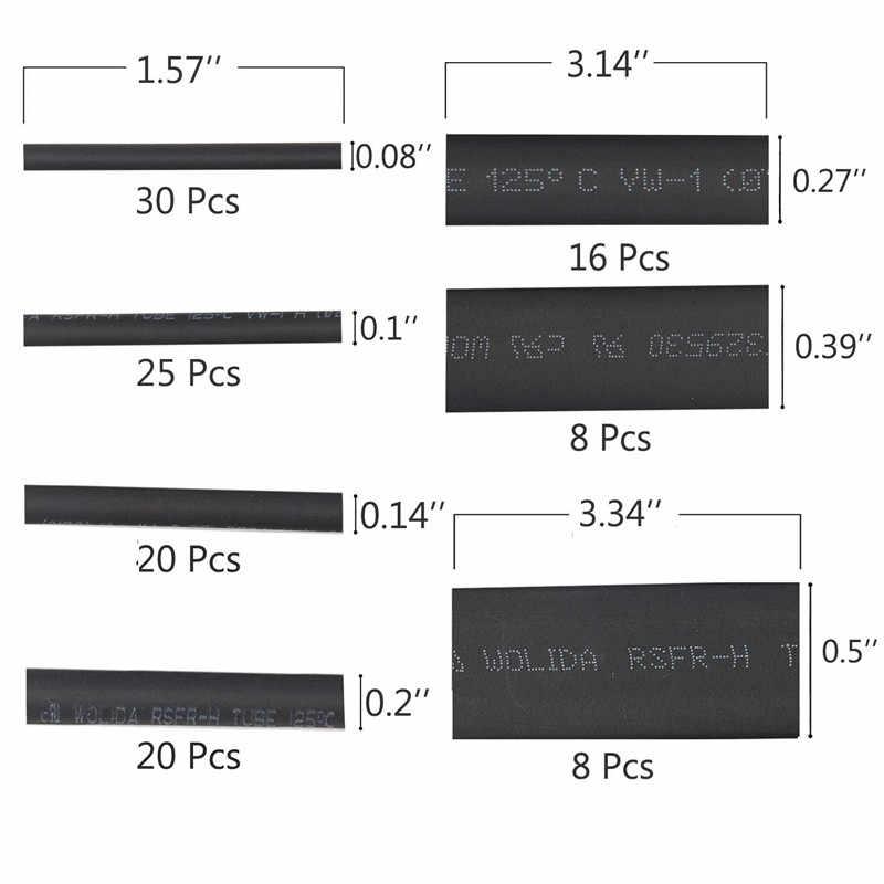 530/127PcsสีดำWeatherproofความร้อนหดหลอดชุดห่อสายการเชื่อมต่อไฟฟ้าไฟฟ้า