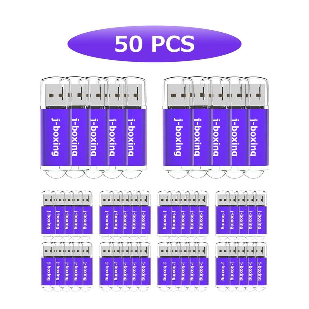 J-boxing LOT 50 USB Flash Drive 2GB Flash Pen Drive Rectangle USB 2.0 Memory Stick For Desktop Laptop Tablet U Disk Multi-colour