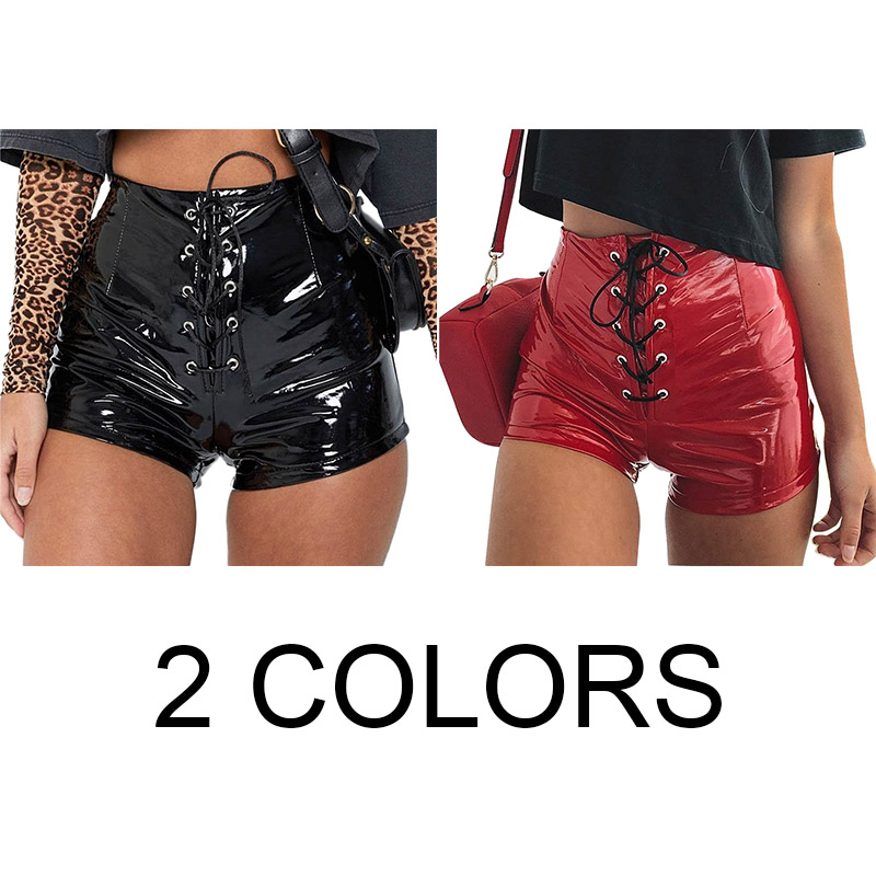 Women'S Fashion Autumn Female Sexy High Elastic Waist Leather Shorts Loose Wide Legged Shorts