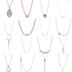 NEW 2019 100% 925 Sterling Silver Floating Locket Crown O Beads & Pave Necklace Clavicle Chain Fit DIY Original Women Jewelry