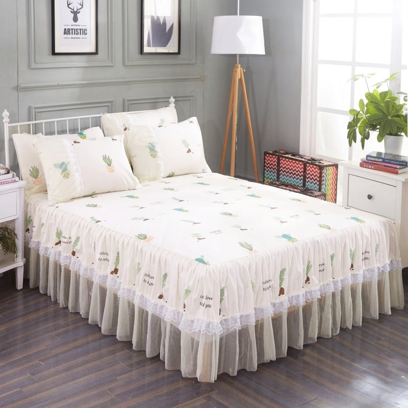 Ruffled Sheet Cover With 2 Pcs Pillowcases Graceful Floral Lace Bedspread Bedroom Girl Bedcover Skirt Non-slip Mattress Bedskirt Ideal Gift For All Occasions