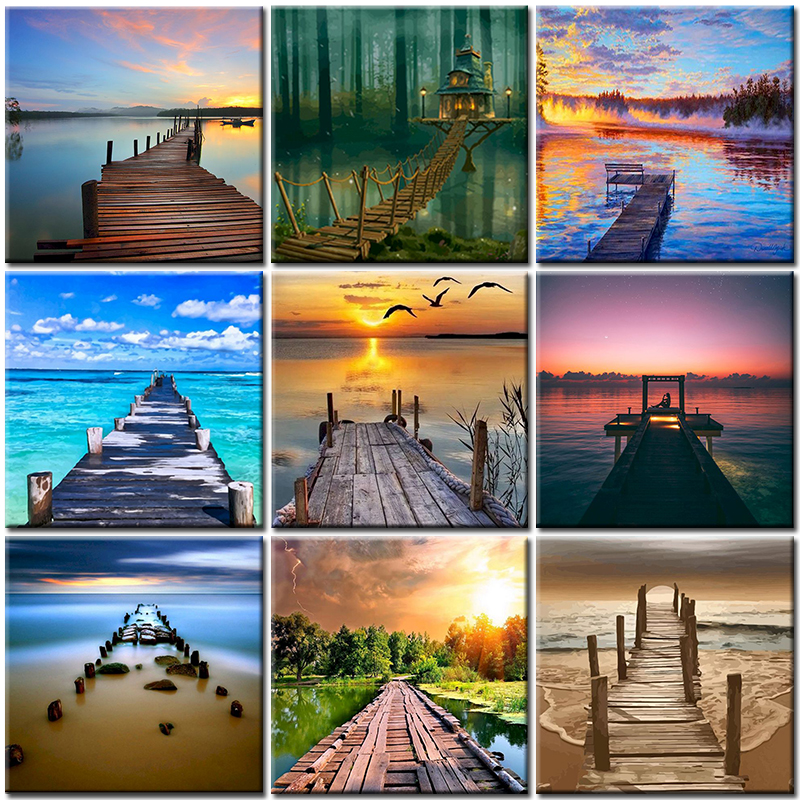 Oil Kits Paintings By Numbers DIY Pictures Landscape Bridge Home Decoration Canvas Painting Coloring For Adult Living Room Art