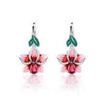 Cute Pink Epoxy Flower with Zircon Stone Silver Stud Earrings for Women Fashion Jewelry 2019 New Korean
