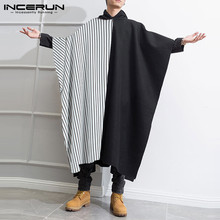 INMen Cloak Striped Patchwork Trench Hooded Loose Streetwear Long Coats 2021 Fashion Poncho Windproof Mens Cape Jackets INCERUN