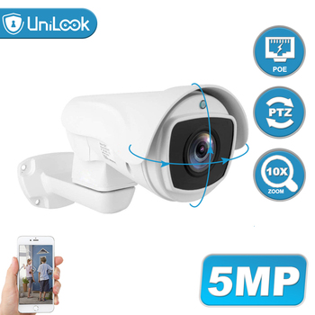UniLook 5MP Bullet POE PTZ IP Camera 10x Optical Zoom Camera CCTV Security Camera Outdoor Weatherproof IR 80m ONVIF H.265 100% original 6mp dahua ip camera english firmware ir 80m h 265 ipc hfw4631m i2 ir cut hd1080p support poe dh ipc hfw4631m i2