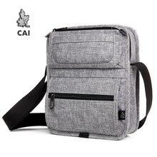 CAI Tablet Messenger Shoulder Bag Multi Pockets Crossbody Mini Casual School Bags for Teenager Boys Handbags Men Fashion
