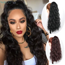 Long Corn Wavy Ponytail hair extension Magic Paste For Black White Women Synthetic fake hair 22 Inch Corn Hair Piece Black(China)