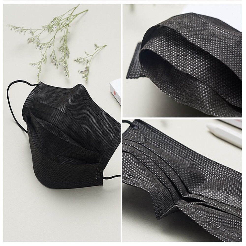 50/100pcs Black Mask Mouth 3 Layers Activated Bamboo Carbon Prevent Anti-Dust Bacteria Repeatability Civil Mouth Face Mask Black