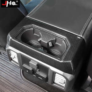 Image 3 - JHO ABS פחמן תבואה אחורי מחזיק כוס פנל כיסוי כיסוי Trim עבור פורד F150 2016 2019 2017 Raptor מוגבל 2018 אביזרי רכב