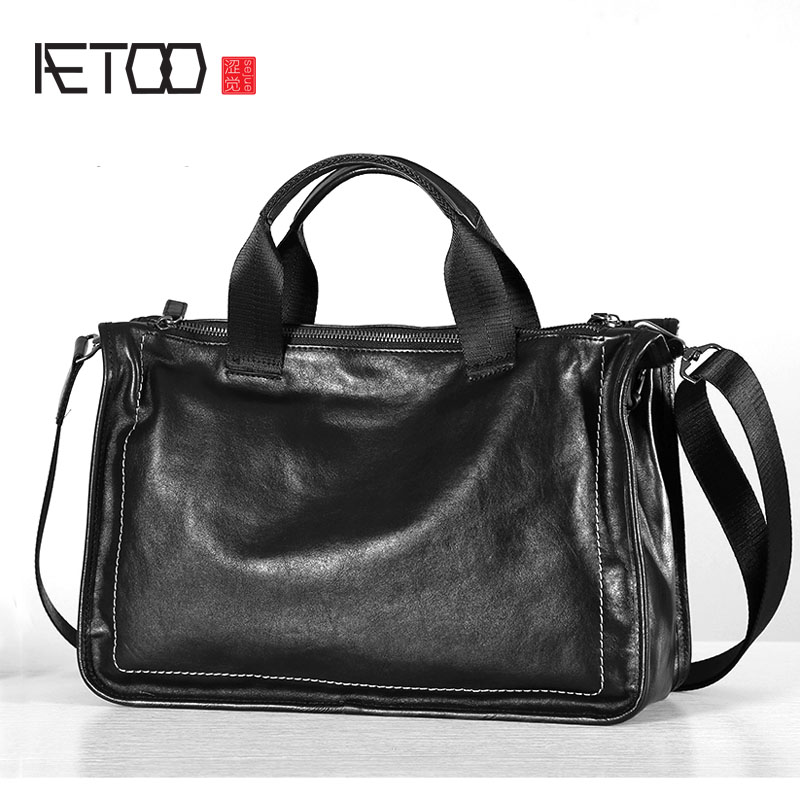 AETOO Original Leather Men's Bag Portable Briefcase Casual Top Layer Leather Cross Section Shoulder Bag Messenger Bag Soft Leath