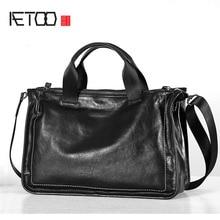 AETOO Original leather mens bag portable briefcase casual top layer leather cross section shoulder bag Messenger bag soft leath