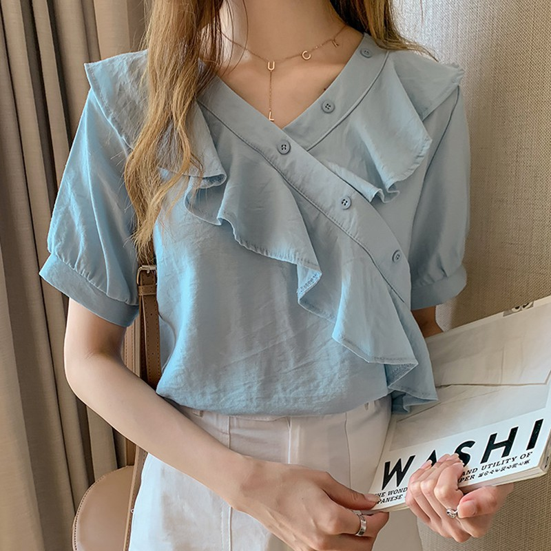 Casual Loose Top V Neck Shirts Tops Ladies Blouse Womens Short Sleeve