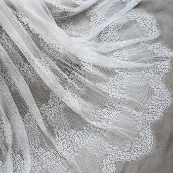 Blac in stock wedding gown lace Off white European style Luxurious wedding gowns lace fabric subtle eyelash chantilly lace