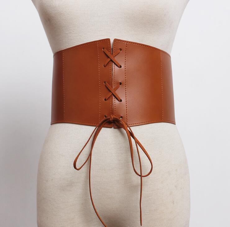 Women's Runway Fashion Pu Leather Cummerbunds Female Dress Coat Corsets Waistband Belts Decoration Wide Belt R1768