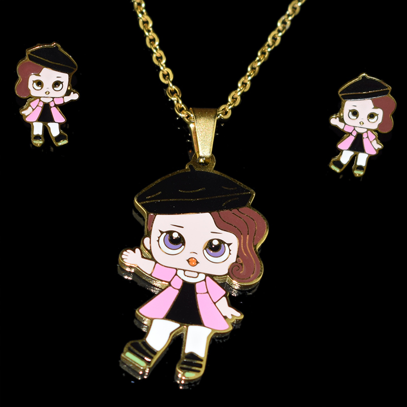 Fashion Cartoon Pink LOL Doll Stainless Steel Golden Plated Necklace Earrings Sets Jewelry for Women Girl Kids Jewellery Gifts