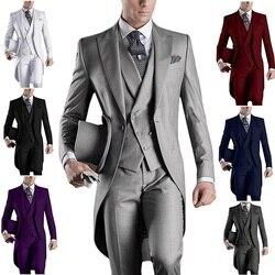 Мужской свадебный смокинг, белый/черный/серый/бордовый пиджак + брюки + жилет, индивидуальный пошив